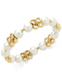 Charter Club Gold Plated Imitation Pearl Flower Stretch Bracelet Only At Macy's