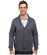 Perry Ellis Quilted Shawl Collar Cardigan Slate Men's Sweater Metallic