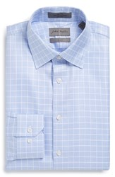 John W. Nordstrom Trim Fit Non Iron Check Dress Shirt Blue Hydrangea