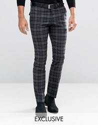 Noose And Monkey Super Skinny Trousers In Tartan With Stretch Grey