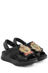 Burberry Prorsum Fabric Sandals With Embroidered Badge Black