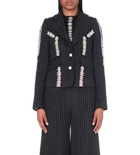 Peter Pilotto Embroidered Trim Woven Jacket Navy