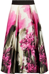 Milly Katie Floral Print Pleated Cotton Blend Poplin Midi Skirt