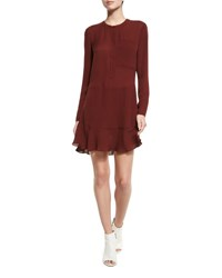 A.L.C. Montana Long Sleeve Silk Flounce Dress Raisin