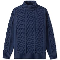 Bleu De Paname Turtleneck Cable Knit Blue