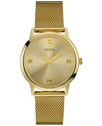 Guess Men's Diamond Accent Gold Tone Stainless Steel Mesh Bracelet Watch 40Mm U0280g3