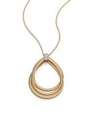 Marco Bicego Cairo Diamond And 18K Yellow Gold Triple Teardrop Necklace