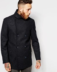 Asos Wool Peacoat With Funnel Neck In Grey