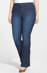 Plus Size Women's Nydj 'Billie' Stretch Mini Bootcut Jeans Dark Blue Petite Plus