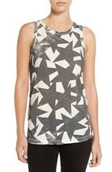 Current Elliott Women's Star Print Cotton Muscle Tank Dirty White Star Struck