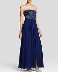 Aidan Mattox Gown Strapless Beaded Bodice And Chiffon Skirt Navy