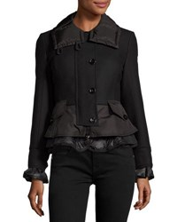 Moncler Wool Blend Blazer W Nylon Peplum Black