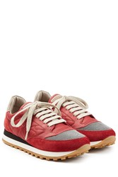 Brunello Cucinelli Suede And Fabric Sneakers Red