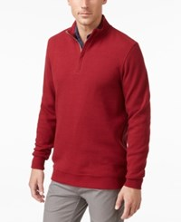 Tasso Elba Men's Big And Tall Honeycomb Textured Quarter Zip Sweater Only At Macy's Red Velvet
