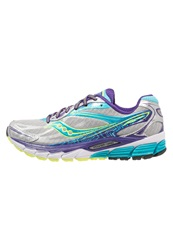 Saucony Ride 8 Cushioned Running Shoes Silver Purple Blue