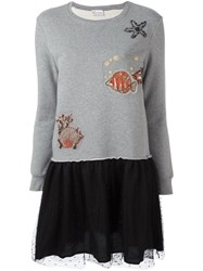Red Valentino 'Fish' Patched Flared Dress Grey