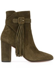 Aquazzura Tassel Detail Ankle Boots Green