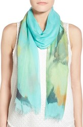Women's Badgley Mischka 'Wild Iris' Print Modal And Silk Scarf