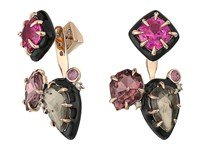 Alexis Bittar Custom Gemstone Stud W Removable Ear Jacket Earrings 10K Gold Black Enamel