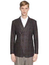 Giorgio Armani Ginza Check Wool And Mohair Blend Jacket