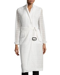 Burberry Crocheted Lace Slim Fit Trenchcoat White