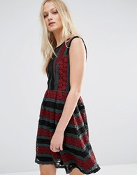 Hazel Mesh Insert Printed Dress Burgundy Red