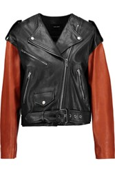 Isabel Marant Audric Two Tone Asymmetric Leather Jacket Black