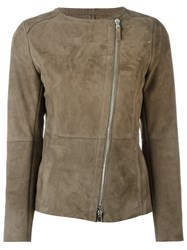 Eleventy Zipped Leather Jacket Brown