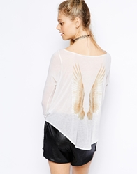 Wildfox Couture Wildfox Long Sleeve T Shirt Wing Back Print White