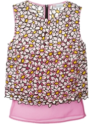 Red Valentino Daisy Embroidered Sleeveless Blouse Pink And Purple