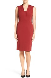 Classiques Entierr Women's Entier Inset V Neck Italian Ponte Sheath Dress Red Sun