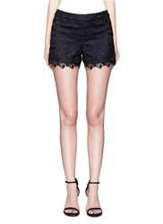 Alice Olivia 'Amaris' Corded Floral Lace Shorts Black
