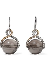 Bottega Veneta Oxidized Sterling Silver Quartz Earrings