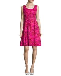 Oscar De La Renta Sleeveless Leaf Print Stretch Poplin Dress Hot Pink