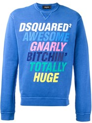 Dsquared2 Crew Neck Print Sweatshirt Blue
