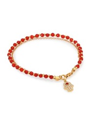 Astley Clarke Biography Red Agate And Diamond Hamsa Beaded Friendship Bracelet Gold Red
