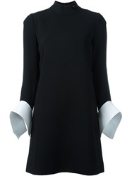 Victoria Beckham Contrast Cuff Shift Dress Black