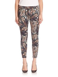 7 For All Mankind Paisley Print Skinny Ankle Jeans Underground Paisley