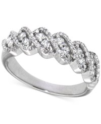 Macy's Diamond Twisted Band 1 2 Ct. T.W. In 14K White Gold