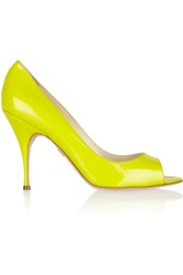 Brian Atwood Carla Patent Leather Pumps Yellow