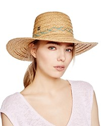 Dorfman Pacific Contrast Stitch Floppy Hat Turquoise