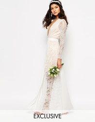 Fame And Partners Bridal Laced Heaven Maxi Dress With Split Parchment White