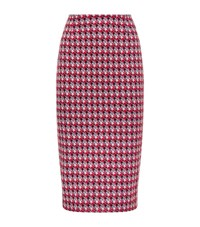 Max Mara Maxmara Weekend Teca Houndstooth Bodycon Skirt Female Red