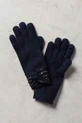 Anthropologie Jeweled Bow Gloves Navy