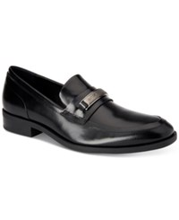 Calvin Klein Men's Douggie Box Leather Slip On Dress Loafers Men's Shoes Black