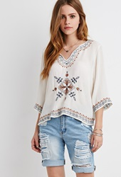Forever 21 Embroidered Gauze Peasant Top Cream Multi