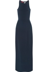 Tamara Mellon Backless Silk Crepe Jumpsuit Blue