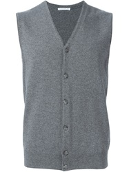 Manipur Knitted Button Down Vest Grey