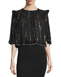 Isabel Marant Space Dot Silk Ruffle Babydoll Top Black