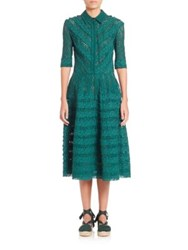 Oscar De La Renta Striped Lace Shirtdress Bottle Green